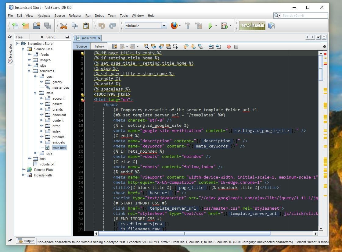 Editing a HTML Twig Template with Netbeans